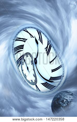 Spiral clouds, planet and clock. Time concept. Ecology concept.