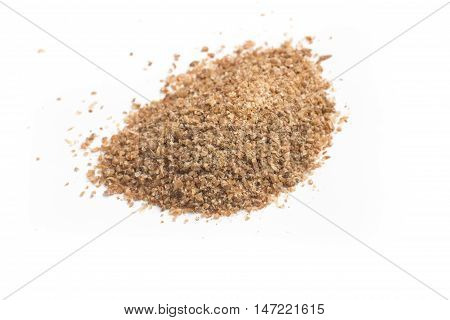 Close-up on a Ground Wheat isolated in white background. Trigo para quibe. Kibbeh