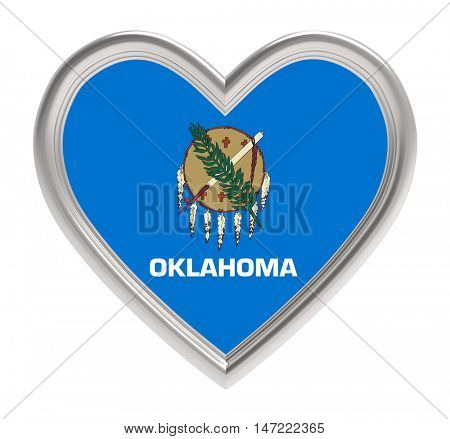 Oklahoma flag in golden heart isolated on white background. 3D illustration.