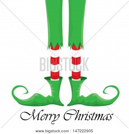 vector creative merry christmas greeting card, christmas cartoon elfs legs on white snow background