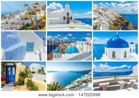 Landscape Santorini island, collage pictures, holiady  Greece