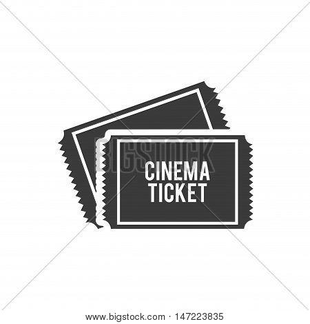 cinema ticket with cinematographic icon vector illustration design