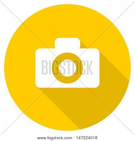camera flat design yellow round web icon