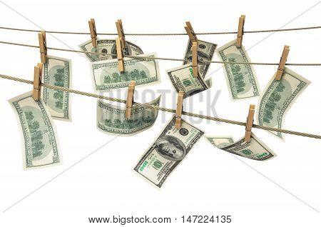 Concept Of Money Laundering Dollar Money Bills On Roupe 3D Ender On White