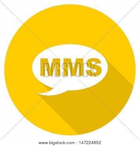 mms flat design yellow round web icon