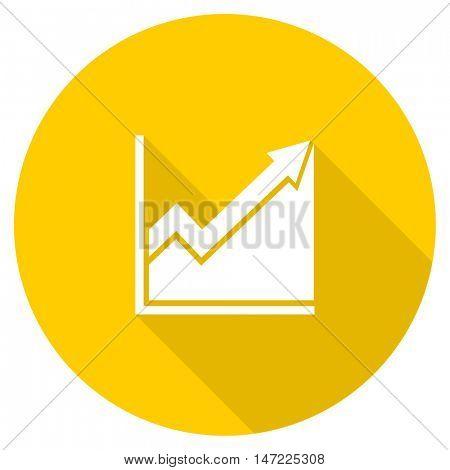 histogram flat design yellow round web icon