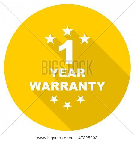 warranty guarantee 1 year flat design yellow round web icon
