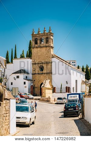 Ronda, Spain - June 19, 2015: The Church of Padre Jesus . Iglesia de Padre Jesus is a 16th century gothic style church.