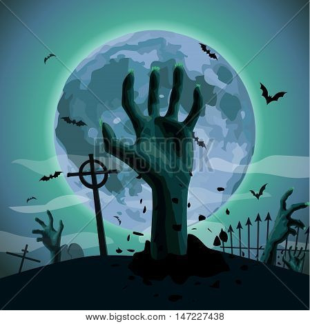 Halloween night: full moon cemetery graveyard graves zombie zombi hands sticking out of ground bat flittermouse. Vector vertical closeup side view sign signboard illustration image celebration holiday