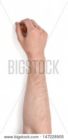 Close up view of a man's hand isolated on white background. Body language. Gestures.