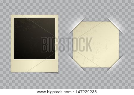Old retro Instant blank photo template with vector paper in photo frame corner on transparent background. Retro photo album with cut frame corners.