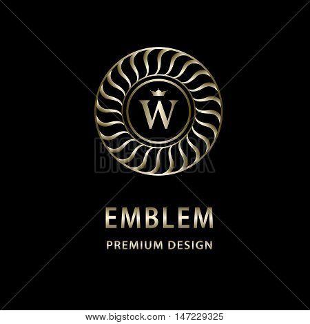 Vector illustration of Monogram design elements graceful template. Elegant line art logo design. Letter emblem W. Retro Vintage Insignia or Logotype. Business sign identity label badge Cafe Hotel
