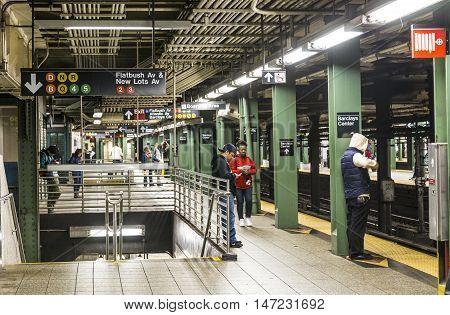 People Wait At Subway Station Atlantic Avenue In New York, Brooklyn