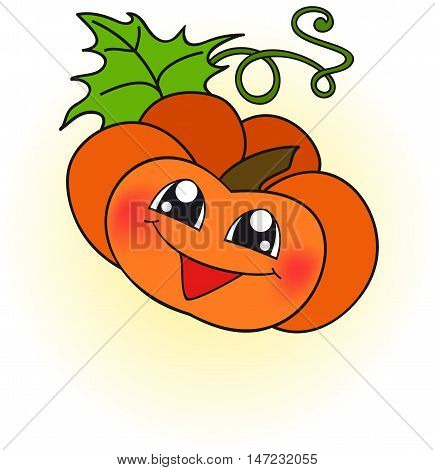 icon of the  single happy orange pumpkin
