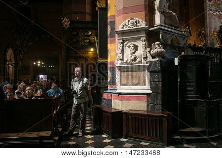 POLAND, KRAKOW - MAY 27, 2016: Inside of the medieval St Mary's church in Krakow. St. Mary's Church was built in the XIII-XIV century.