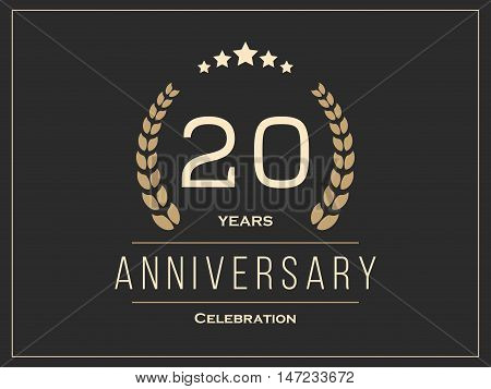 Twenty years anniversary celebration logotype. 20th anniversary logo. Vector illustration.