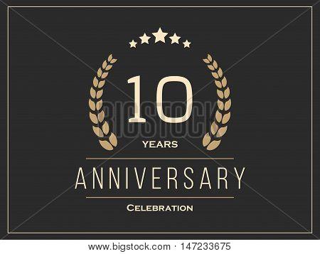 Ten years anniversary celebration logotype. 10th anniversary logo. Vector illustration.