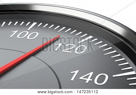 Car speedometer clouse up. 3d illustration isolated on a white background.