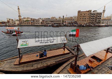 DUBAI, UNITED ARAB EMIRATES (UAE), 4 April 2016. Editorial Photograph of Abra Water Buses and Bur Dubai, viewed from Baniyas Road, Deira
