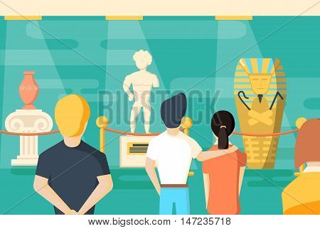 people visits to museum visitor looking painting and sculpture at art exhibition