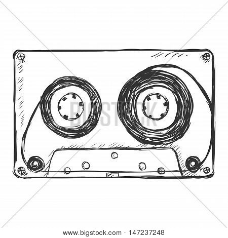 Vector Sketch Illustration - Audiocassette