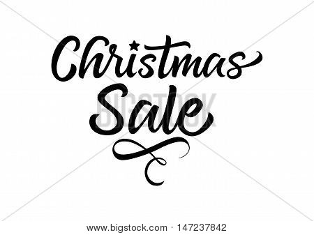 Christmas sale calligraphic lettering. Black summer sale inscription on white background. Handwritten text can be used for fliers, posters, banners