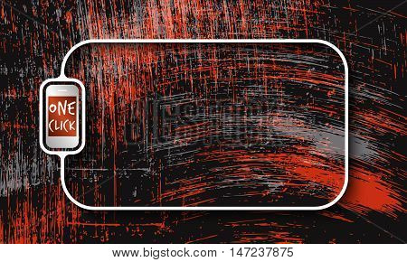 Vector abstract scratched background and white a text box with phone