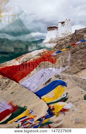 Leh Monastery Namgyal Tsemo Gompa in Ladakh with tibetan prayer flags