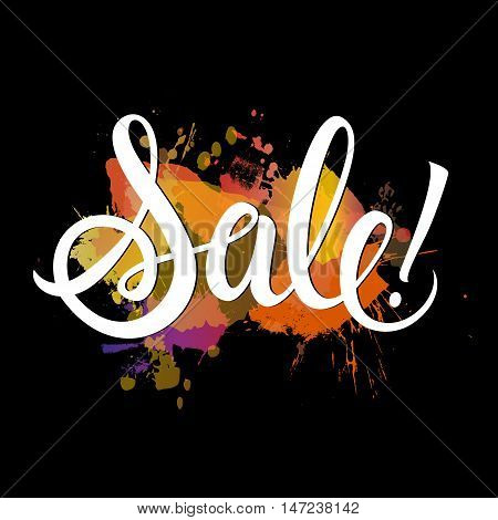 Sale lettering. White sale autumn inscription with exclamation mark on black background with water-color spot. Handwritten text can be used for postcard, flier, banner