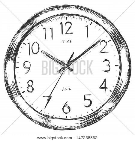 Vector Sketch Illustration - Wall Clock
