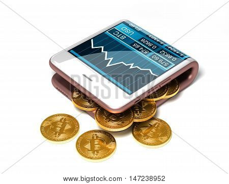 Concept Of Pink Digital Wallet And Bitcoins On White Background. Gold Bitcoins Spill Out Of The Curved Smartphone. 3D Illustration.