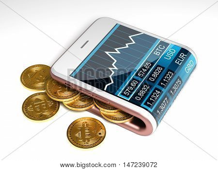 Concept Of Pink Digital Wallet And Bitcoins. Gold Bitcoins Spill Out Of The Pink Curved Smartphone. The Screen Shows A Graph Of The Bitcoin Price Chart And Other Currencies. 3D Illustration.