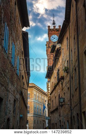 Colorful street in Pienza town, Tuscany, Italy