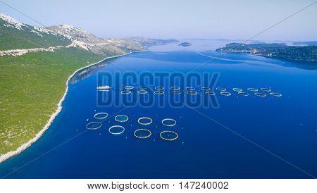 Aerial view of fish farming in Dugi Otok in Croatia