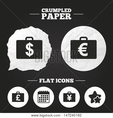 Crumpled paper speech bubble. Businessman case icons. Cash money diplomat signs. Dollar, euro and pound symbols. Paper button. Vector