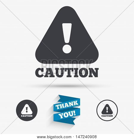 Attention caution sign icon. Exclamation mark. Hazard warning symbol. Flat icons. Buttons with icons. Thank you ribbon. Vector