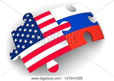 Cooperation of Russia and the United States of America. Concept. Puzzles with flags of the Russian Federation and the United States of America on a white surface. The concept of coincidence of interests in geopolitics. Isolated. 3D Illustration