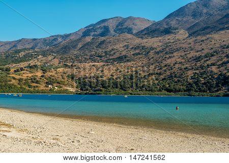 Crete, Greece: famous Kournas Lake, the only freshwater lake in Crete