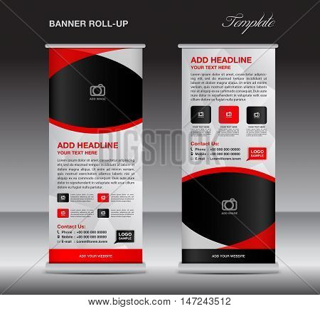 Red roll up banner stand template, stand design,banner design, pull up,  flyer template, advertisement, polygon background, display layout