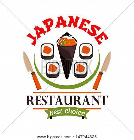 Japanese food restaurant icon. Sushi, spring rolls, knives. Oriental cuisine label for bar, eatery menu. Advertising sticker for door signboard, poster, leaflet, flyer