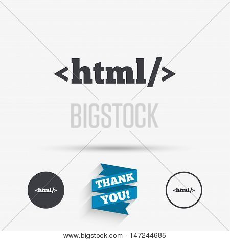 HTML sign icon. Markup language symbol. Flat icons. Buttons with icons. Thank you ribbon. Vector