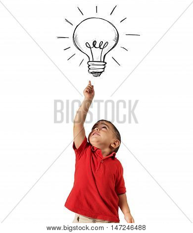 Child points a lightbulb drawn above his head