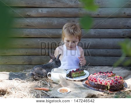 Cute boy in white pinafore and little rabbit at table served with fruit cake and cup of milk outdoors on wooden background
