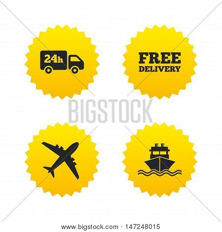 Cargo truck and shipping icons. Shipping and free delivery signs. Transport symbols. 24h service. Yellow stars labels with flat icons. Vector