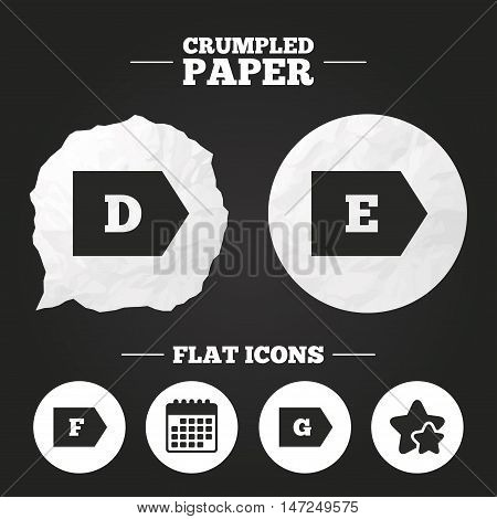 Crumpled paper speech bubble. Energy efficiency class icons. Energy consumption sign symbols. Class D, E, F and G. Paper button. Vector