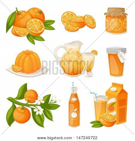 Ripe oranges fruits and slices with leaf isolated on white background. Realistic orange products vector illustration. Vitamin health dessert diet juicy orange products natural aromatherapy breakfast
