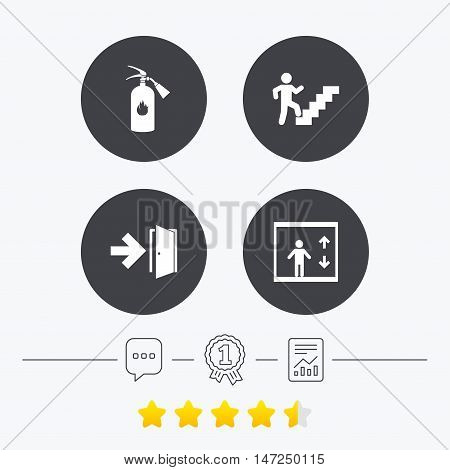 Emergency exit icons. Fire extinguisher sign. Elevator or lift symbol. Fire exit through the stairwell. Chat, award medal and report linear icons. Star vote ranking. Vector