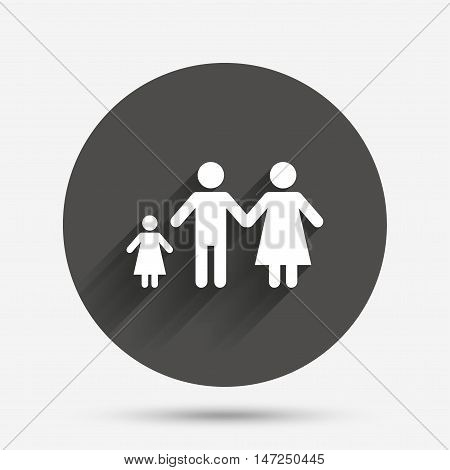 Family with one child sign icon. Complete family symbol. Circle flat button with shadow. Vector