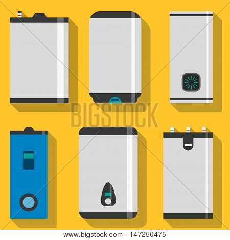 Boiler Vector illustration Set of different models of boilers on yellow background