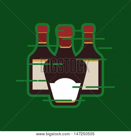 flat design liquor bottle image vector illustration